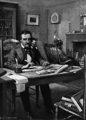 Edgar Allan Poe and his cat