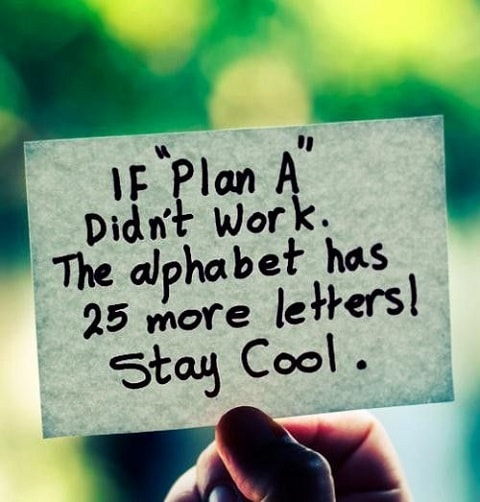 If Plan A doesn't work, the alphabet has 25 more letters!  Stay cool.